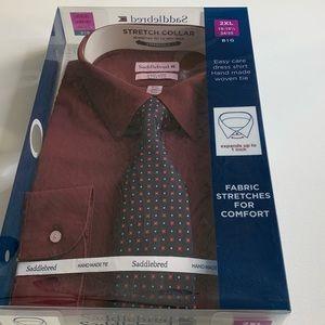 Saddlebred Long sleeve dress shirt maroon color